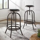 Halsted Swivel Adjustable Height Bar Stool (Set of 2) by Williston Forge