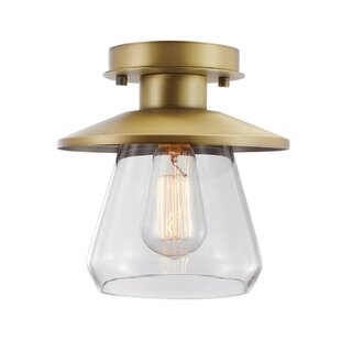 Lindberg 1-Light Semi Flush Mount by Breakwater Bay