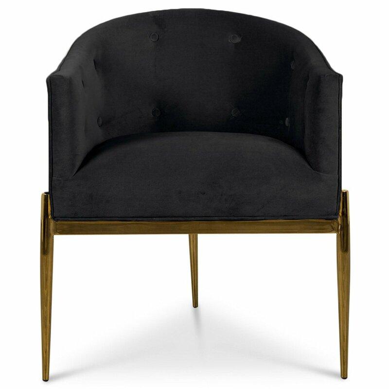ModShop Art Deco Velvet Upholstered Arm Chair