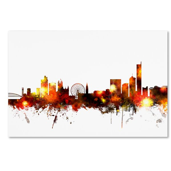 Ivy Bronx Manchester England Skyline Red Graphic Art On Wrapped Canvas Wayfair