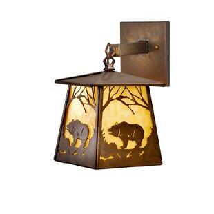 Meyda Tiffany Grizzly Bear at Dawn 1-Light Outdoor Wall Lantern
