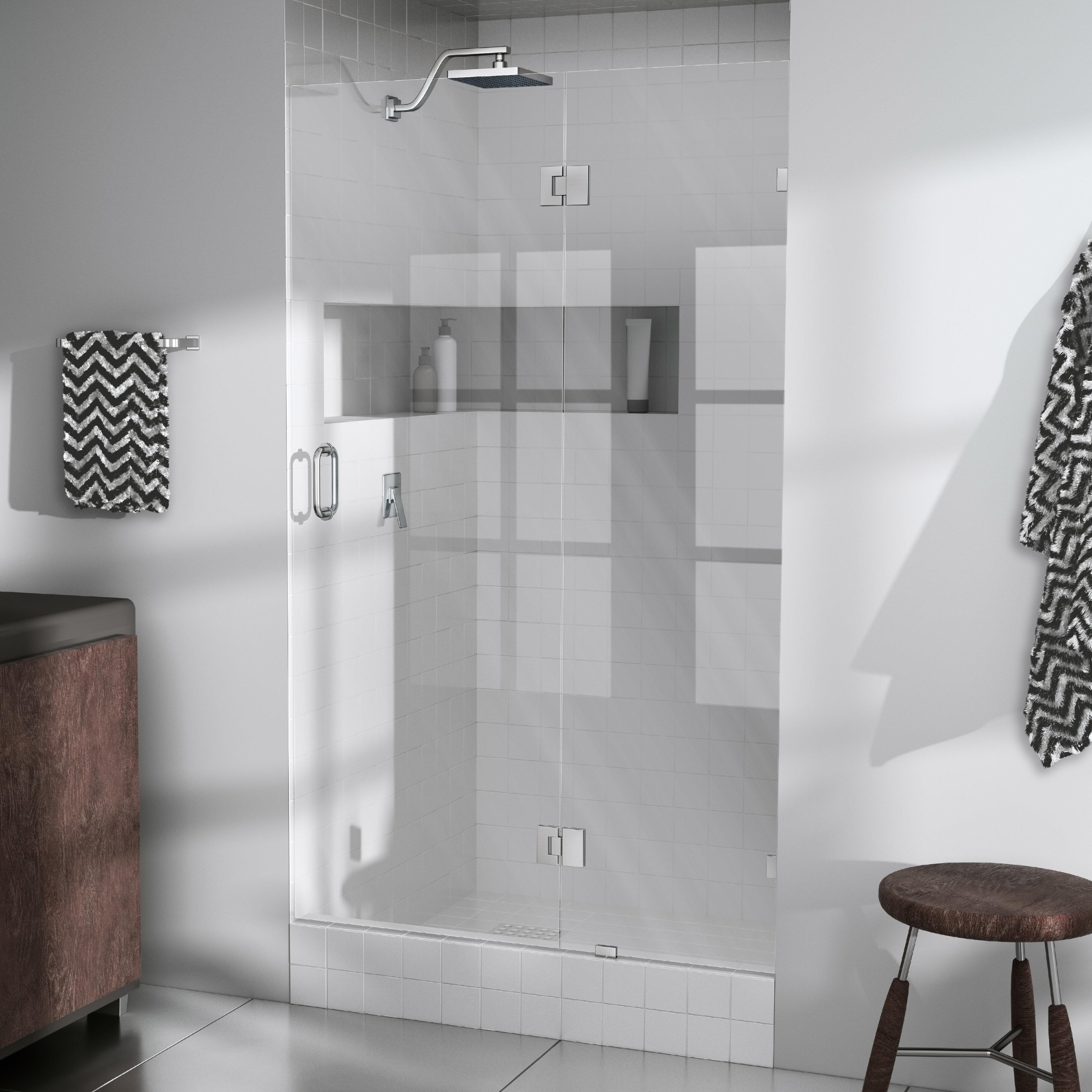 Glass Warehouse 31 W X 78 H Hinged Frameless Shower Door Wayfair