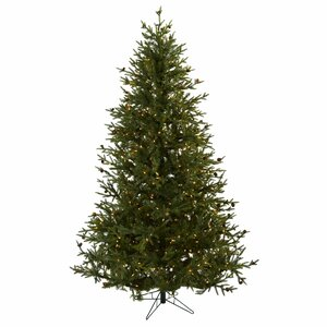 Nearly Natural 7.5' Green Classic Pine and Pine Cone Artificial Christmas Tree with 500 Clear Lights with Stand