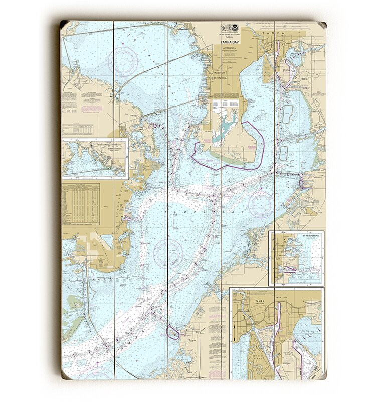Fl Tampa Bay Nautical Chart Sign Graphic Art Print On Wood