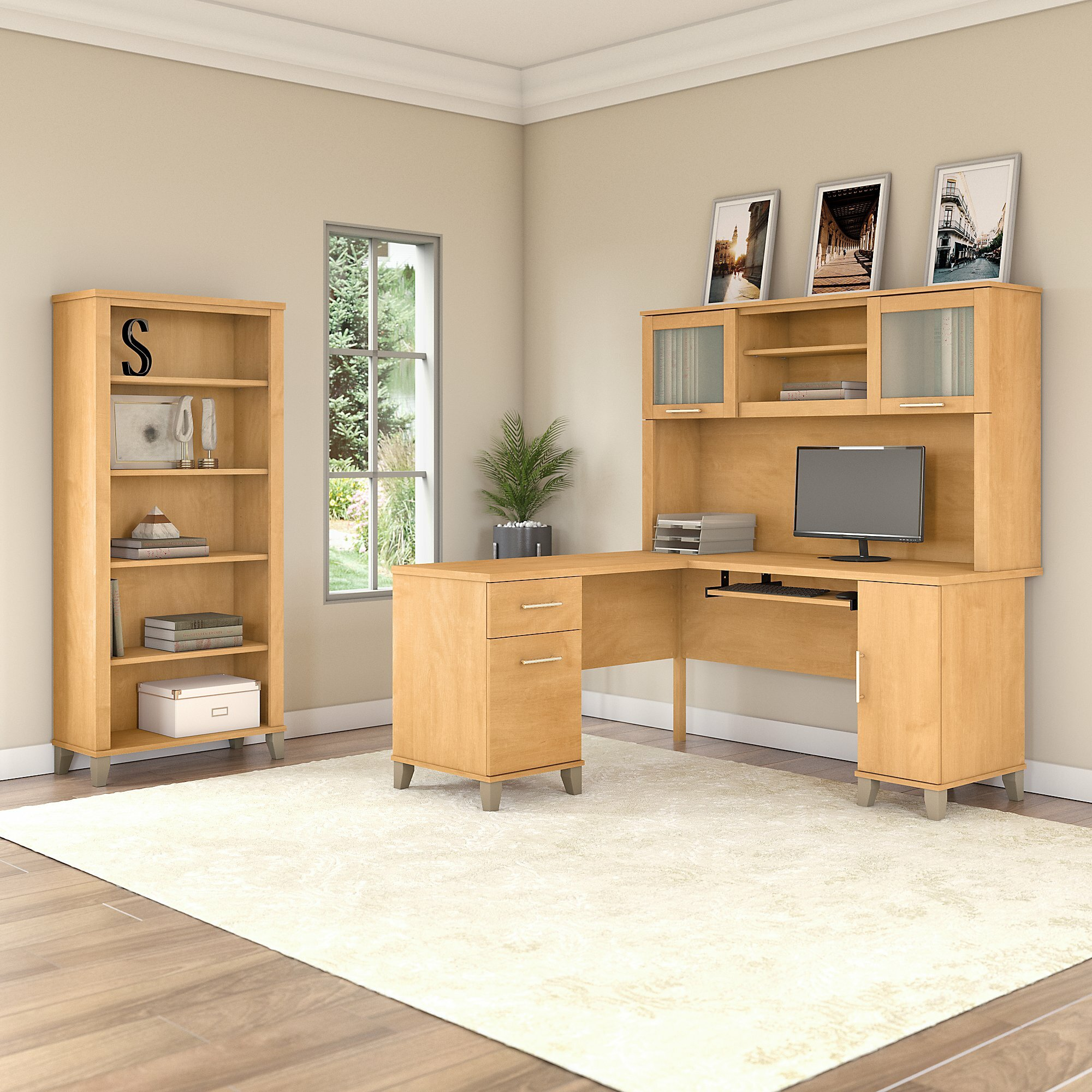 Kirchoff Desk with Hutch and Shelf Bookcase