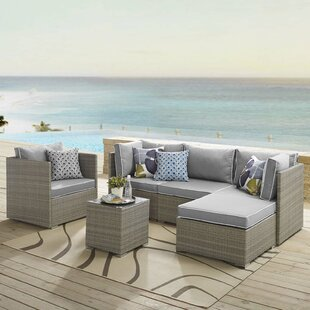 Heinrich Outdoor Patio 6 Piece Rattan Sectional Seating Group with Sunbrella Cushions by Highland Dunes