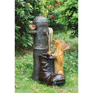 Wildon Home ® Fire Hydrant Pooch Sculptural Fountain with LED Light