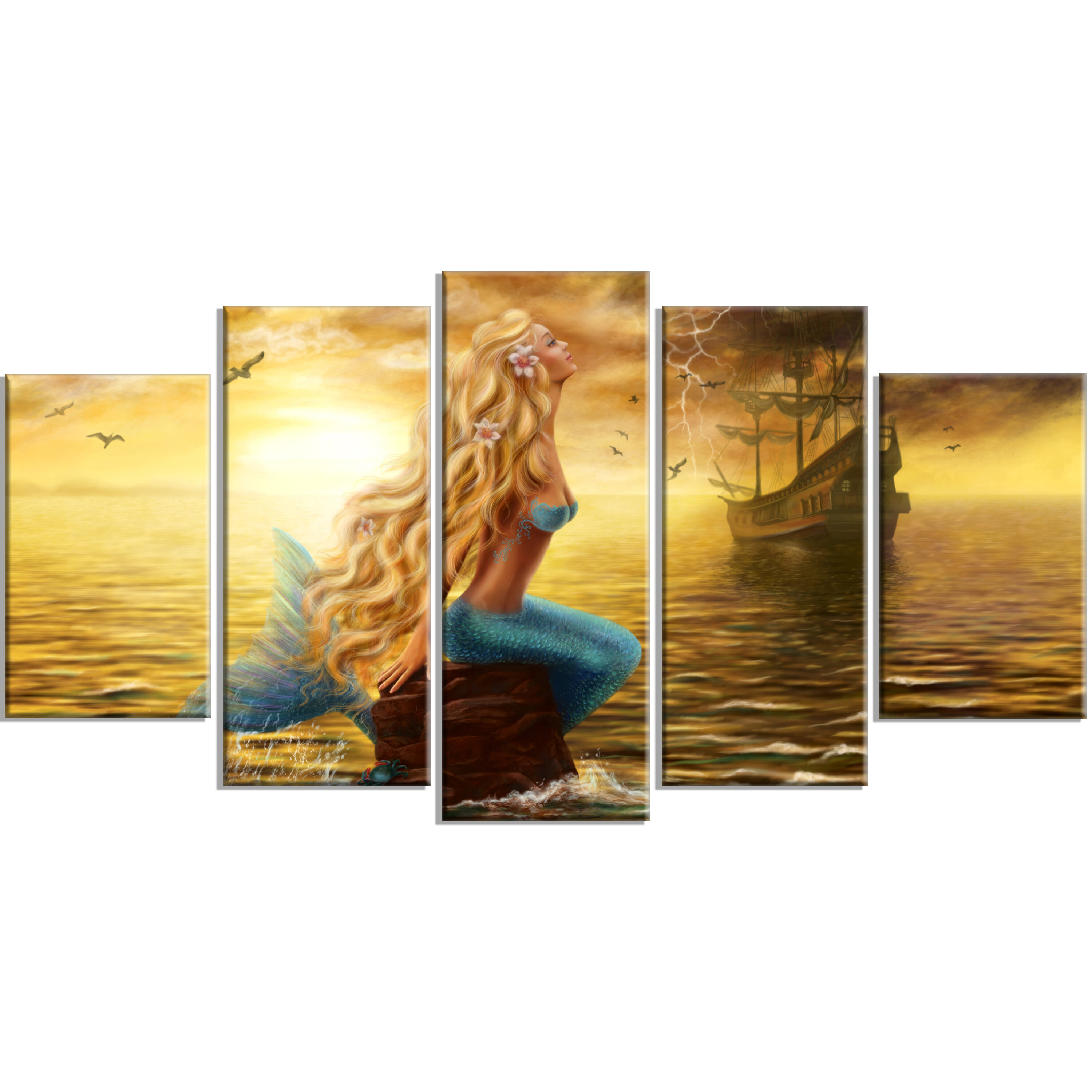 DesignArt \'Sea Mermaid with Ghost Ship\' 5 Piece Wall Art on Wrapped ...