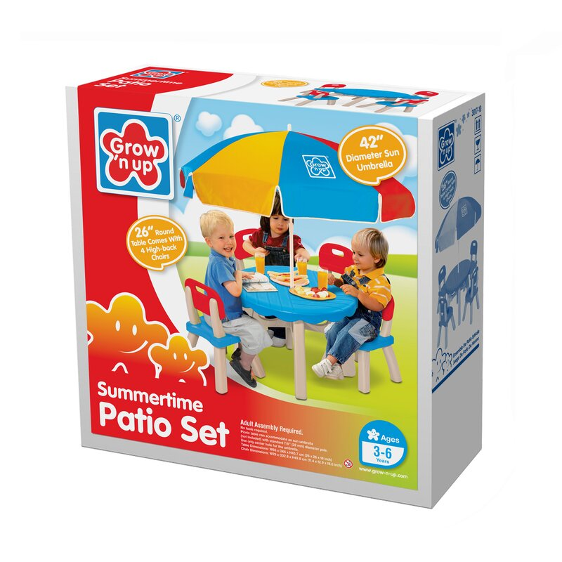 Grow \'n Up Summertime Kids 6 Piece Patio Round Table and Chair Set ...