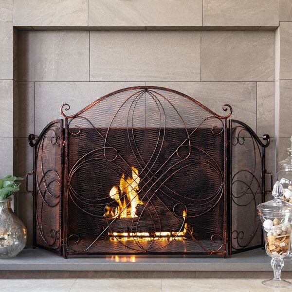 UniFlame Fireplace Screen Mesh Decorative Leaves Free Standing Foldable 3-Panel