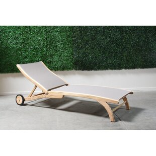 Decamp Reclining Teak Chaise Lounge by Highland Dunes