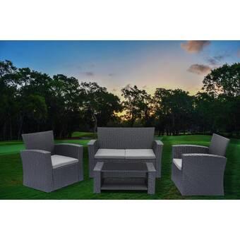Mercury Row Livingston 4 Piece Rattan Sofa Seating Group With Cushions Reviews Wayfair