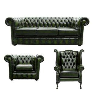 Zaliki Chesterfield 3 Piece Leather Sofa Set By Marlow Home Co.