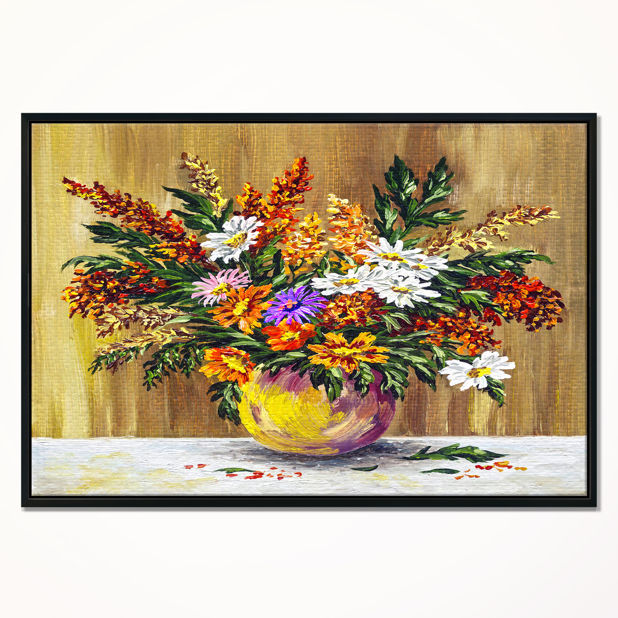 East Urban Home Wild Flowers In A Pot Framed Oil Painting Print On Wrapped Canvas Wayfair