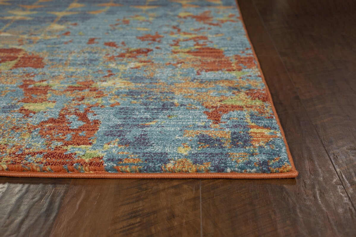 latitude run korth blue orange area rug reviews wayfair. Black Bedroom Furniture Sets. Home Design Ideas