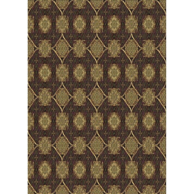 East Urban Home Orianne Geometric Wool Brown Green Area Rug Wayfair