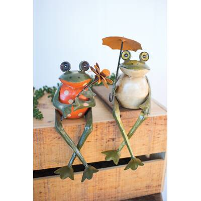 Jamarcus Recycled Metal Frog Shelf Sitter 2 Piece Statue Set