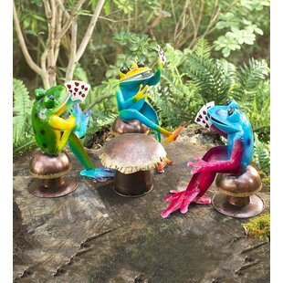 Wind & Weather Metal Poker Playing Frogs 4 Piece Statue Set