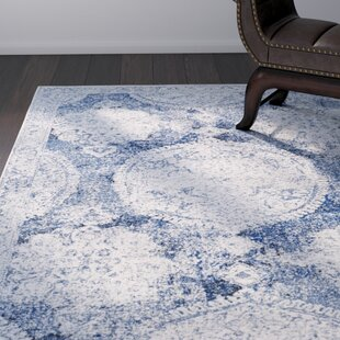 Buy Arteaga Distressed Vintage Medallion Blue/White Area Rug By Bungalow Rose