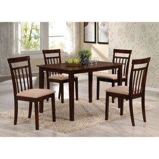 Bartel Wooden Slatted Back Chairs 5 Piece Dining Set