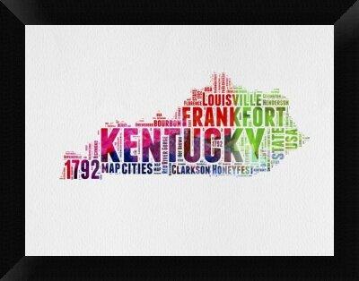 Naxart \'Kentucky Word Cloud\' Framed Textual Art on Canvas | Wayfair