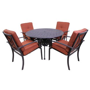 Waynesburg Round 5 Piece Dining Set with Cushions by Red Barrel Studio