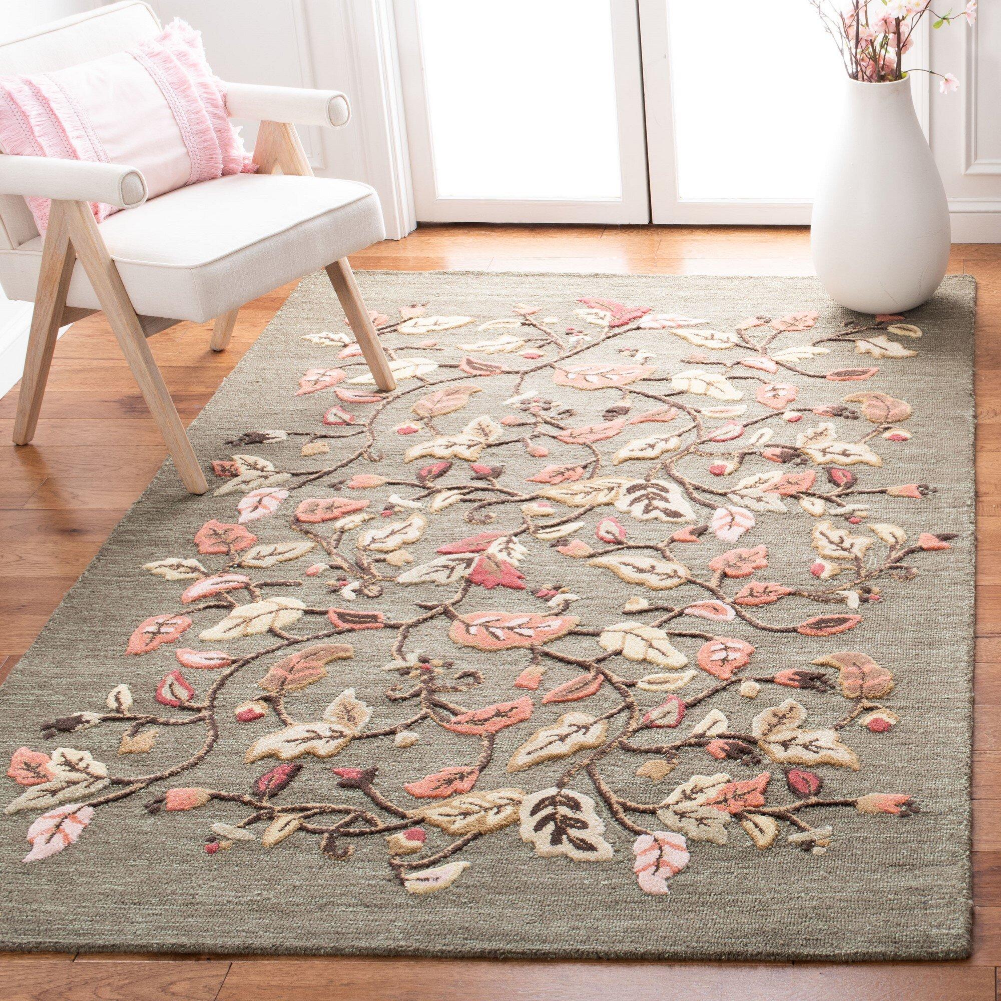 Martha Stewart Rugs Floral Hand Tufted Wool Brown Red Green Area Rug Reviews Wayfair