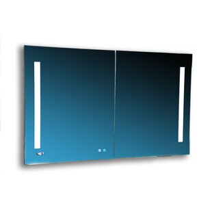 Donnelly 48 x 40 Recessed or Surface Mount Frameless Medicine Cabinet with 4 Adjustable Shelves and LED Lighting by Orren Ellis