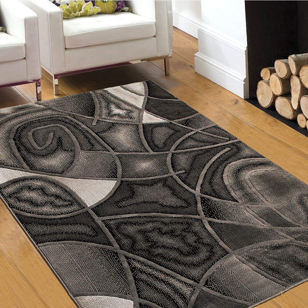 Allstar Rugs Abstract Power Loom Gray Area Rug Reviews Wayfair