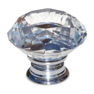 "1-5//8/""SolidClear Round Diamond Cut Shape Crystal Glass Kitchen /& Bath Knobs"