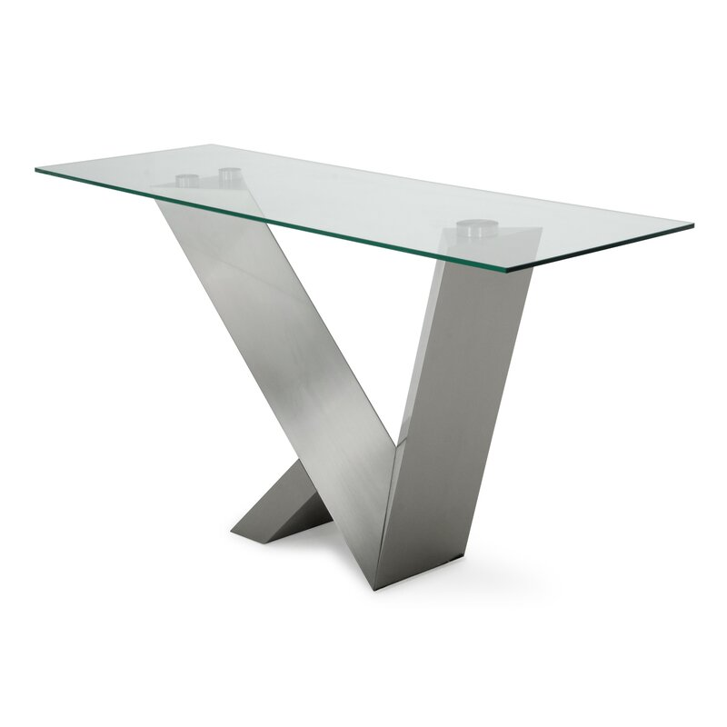 Carberry Glass/Stainless Steel Console Table