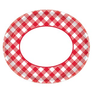 Summer Picnic Gingham Oval Paper Plate (Set of 18)