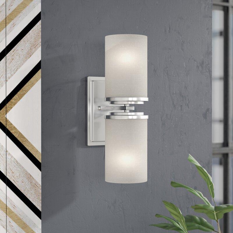 Zipcode Design Konen Light Wall Sconce Reviews Wayfair - 2 light bathroom sconce