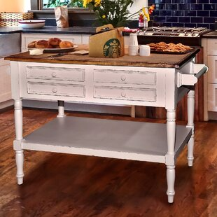 Brookstonval Kitchen Island with Wood Top