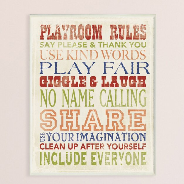 New Metal Playroom Rules Hanging Sign Plaque