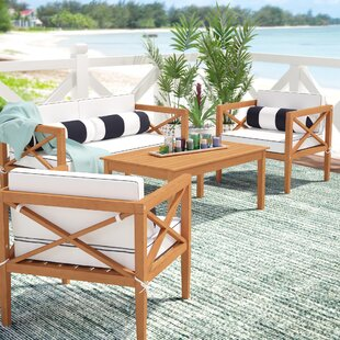 Beachcrest Home Delray 4 Piece Teak Sofa Set with Cushions
