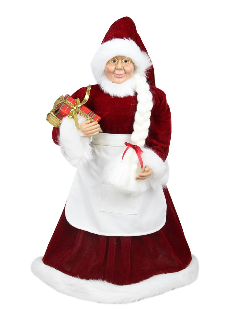 Northlight Standing Mrs Claus With Braided Hair And Gifts Christmas