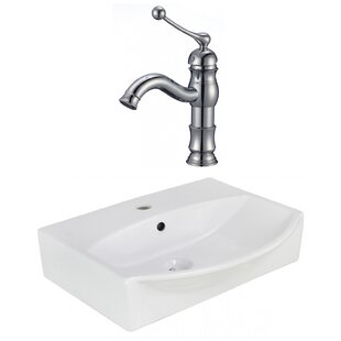 American Imaginations Ceramic Rectangular Wall Mount Bathroom Sink with Faucet and Overflow