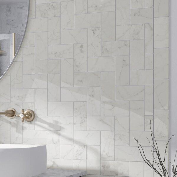 Elitetile Karra Carrara 3 X 6 Ceramic Subway Tile In Glossy White Gray Wayfair