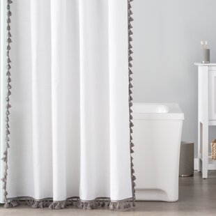 Angelia 100% Cotton Tassel Single Shower Curtain By Eider & Ivory