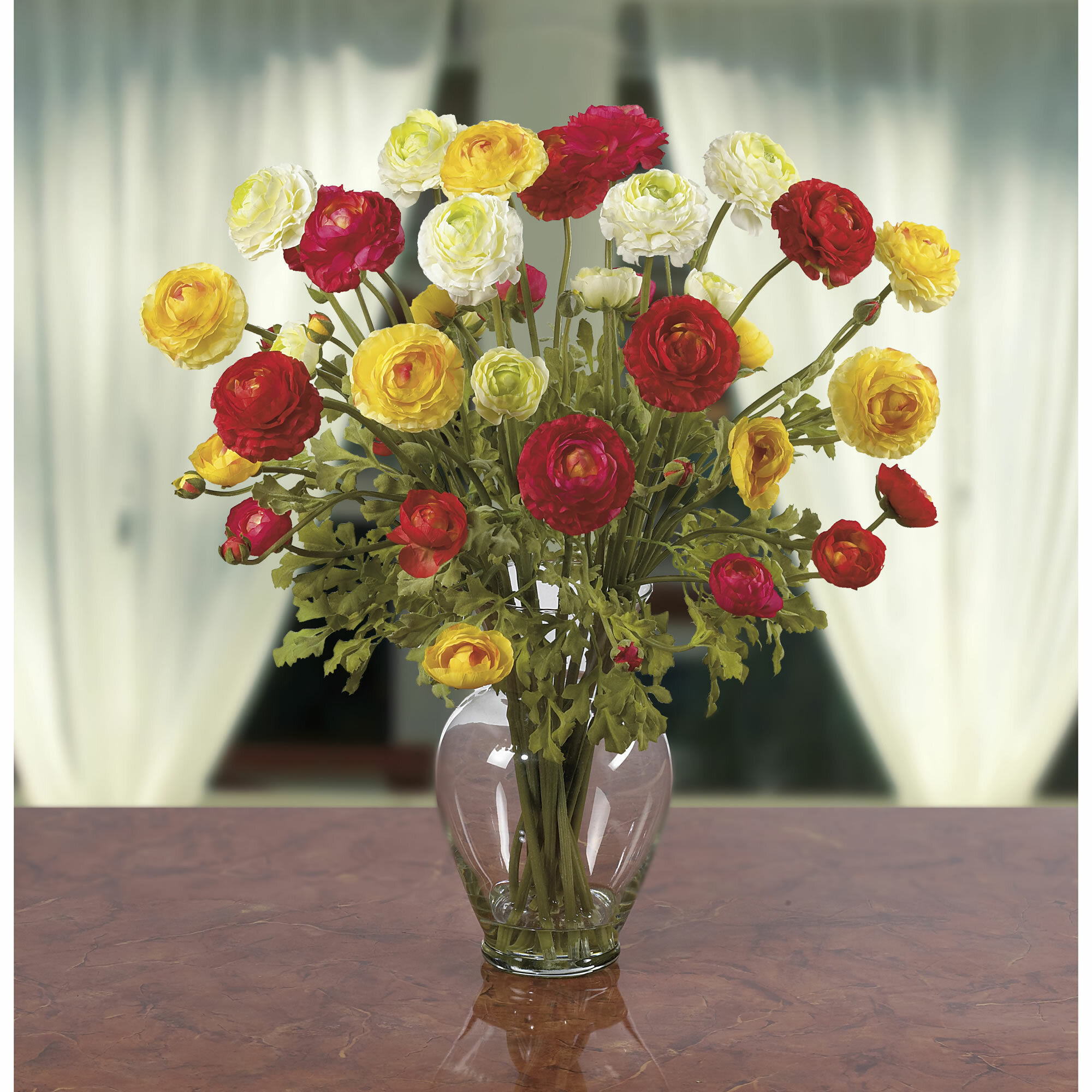 Darby Home Co Silk Ranunculus Mixed Floral Arrangements And Centerpieces In Vase Reviews Wayfair