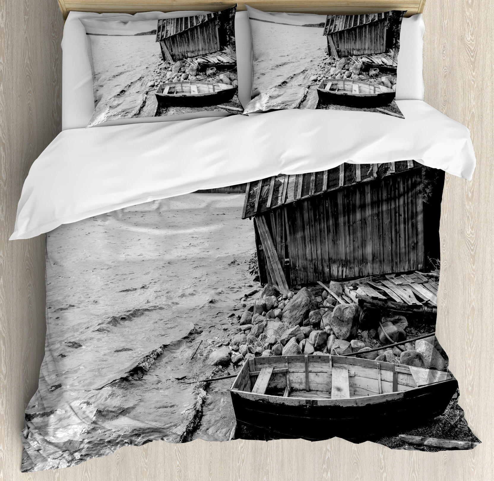 East Urban Home Black And White Decor King Size Duvet Cover Set Old