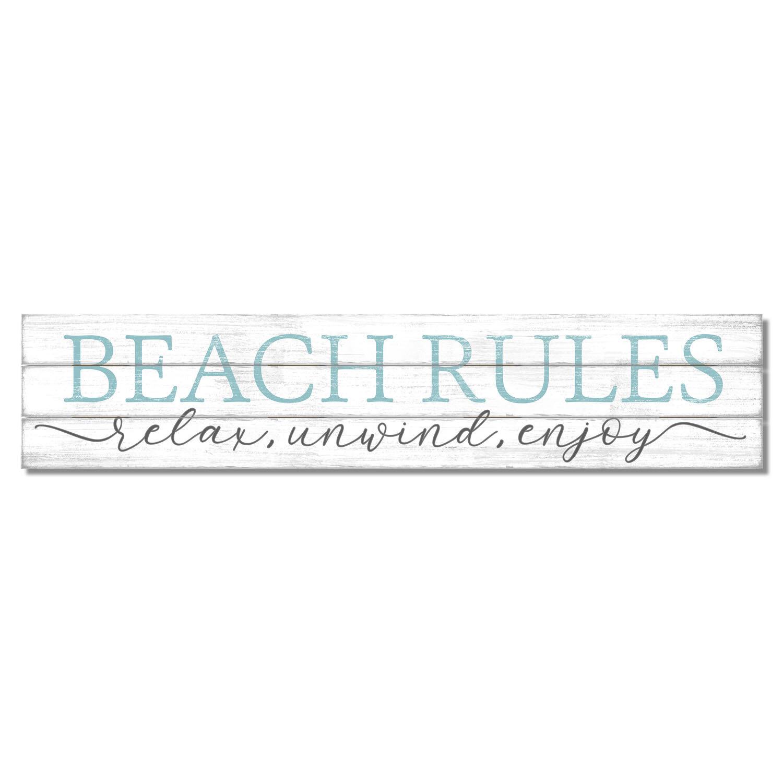 Highland Dunes Beach Rules Pine Pallet Wall Décor Wayfair