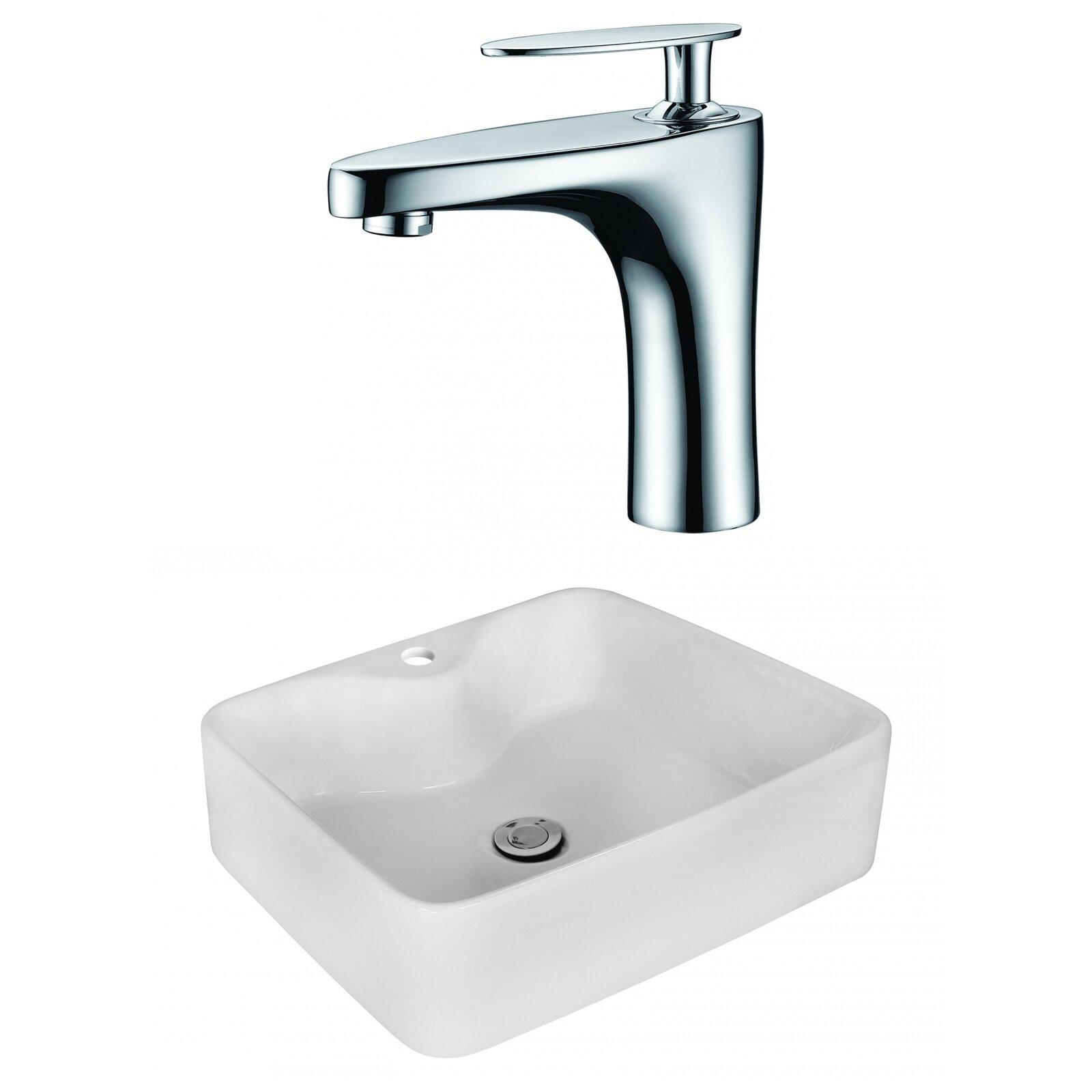 Royalpurplebathkitchen Above Counter Ceramic Rectangular Vessel Bathroom Sink With Faucet Wayfair