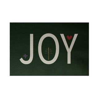 Joy Filled Season Decorative Holiday Word Print Dark Green Indoor/Outdoor Area Rug By The Holiday Aisle