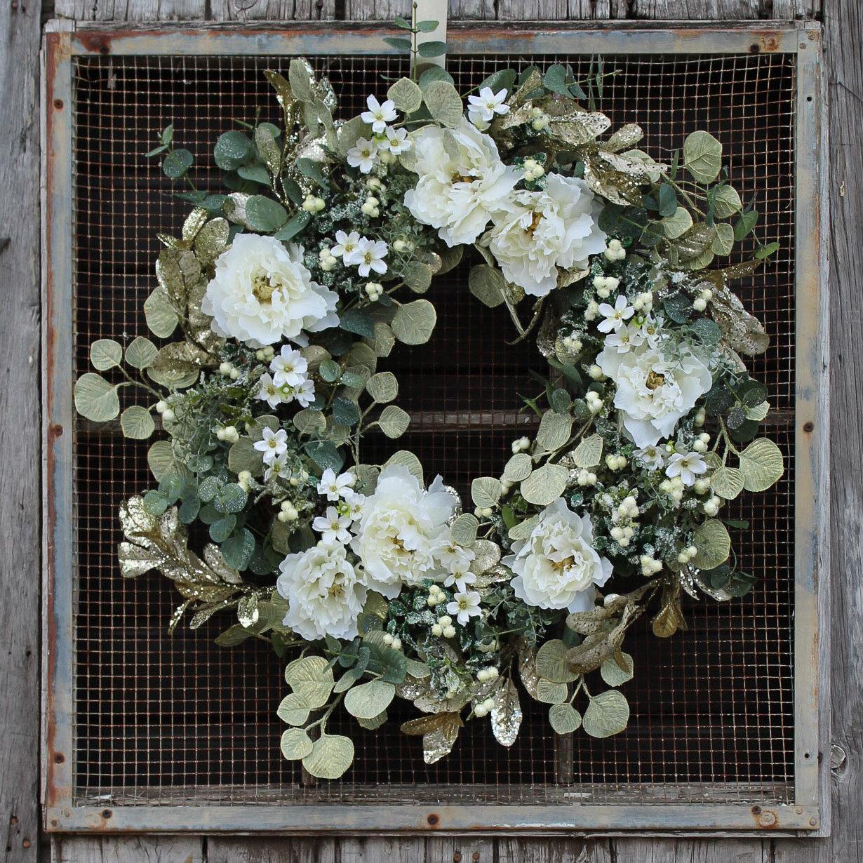 Rosdorf Park Peony Shimmer Eucalyptus Wreath Wayfair