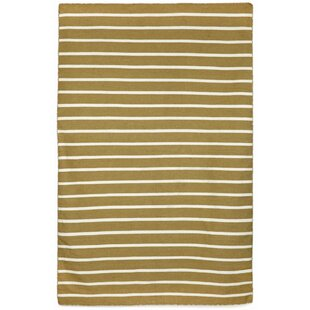 Ranier Hand-Woven Pinstripe Khaki Indoor/Outdoor Area Rug