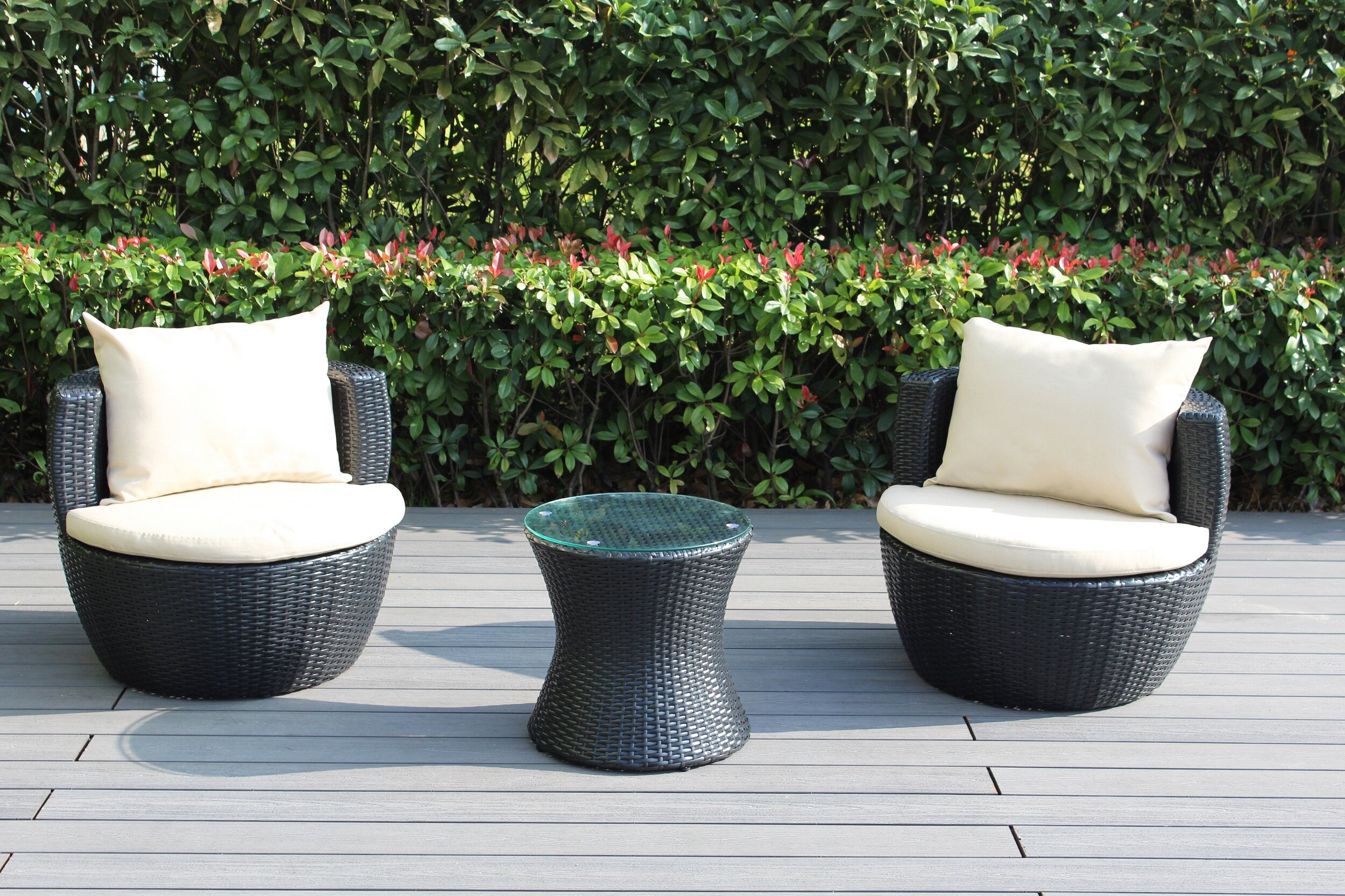 Ebern Designs Elkport 2 Piece Rattan Seating Group With Cushions Reviews Wayfair