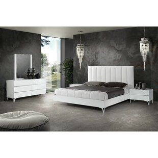Kayna - Italian Modern White Eco Leather Bedroom Set