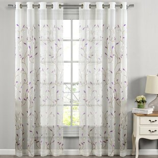 Apatow Wavy Nature/Floral Sheer Grommet Single Curtain Panel by Charlton Home